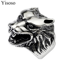 Yisoso titanium steel Cool Wolf Head Ring For Man Cool Punk Man's Fashion Animal Jewelry Best Gift For Friend High Quality JZ019