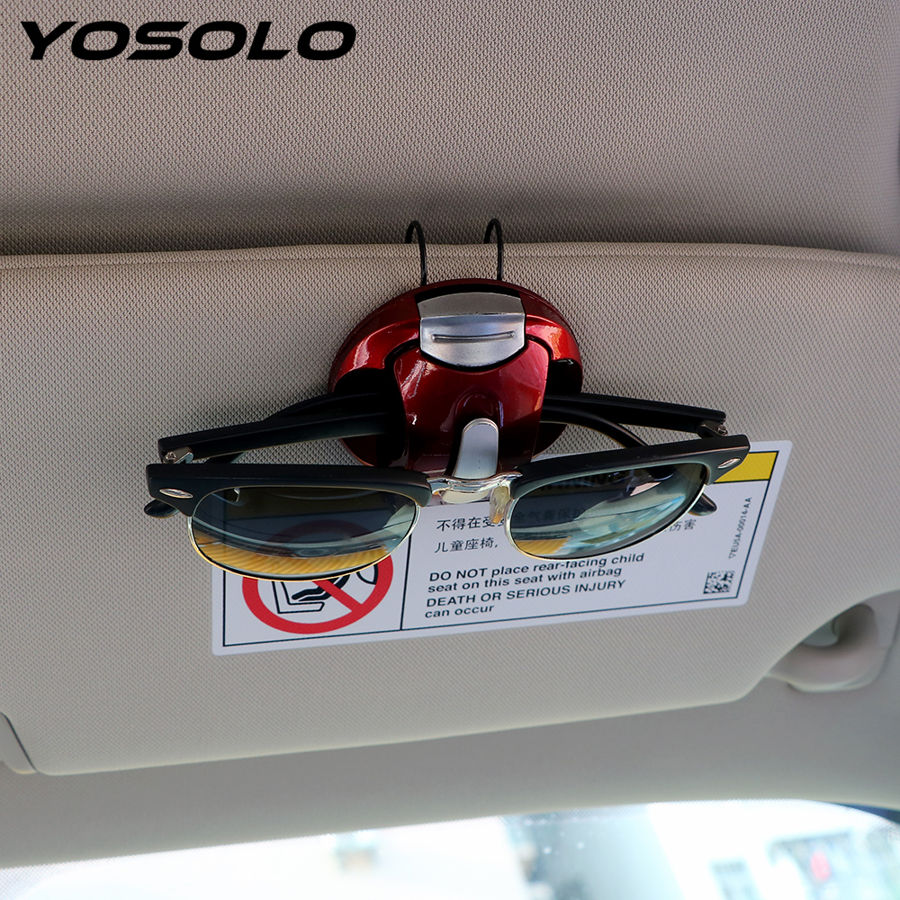 YOSOLO Sun Visor Sunglasses Eyeglasses Holder Car Glasses Cases Fastener Clip Interior Accessories Portable Card Pen Clip