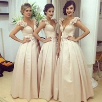 HOT 2017 Arabic White ivory Long Bridesmaid Dresses Satin A line Saudi Dubai Ruched Long Maid of Honor Dress Wedding Party Gowns