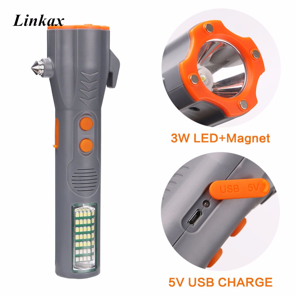 Multifunction USB Flashlight Car Emergency Escape Safety Torch 29 LEDs Flashlight Magnetic Work Light Lamp 18650 For Outdoor
