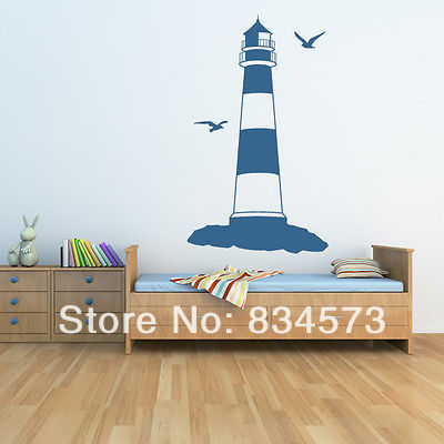 Lighthouse At The Beach Seaside Wall Art Stickers Wall Decal DIY Home  Decoration Wall Mural Removable