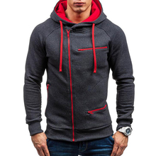 Hoodie Men Tracksuit 2019 Streetwear Drawstring Pocket Hooded Sweatshirt Long Sleeve Zip Slim Coat Male Jacket недорого