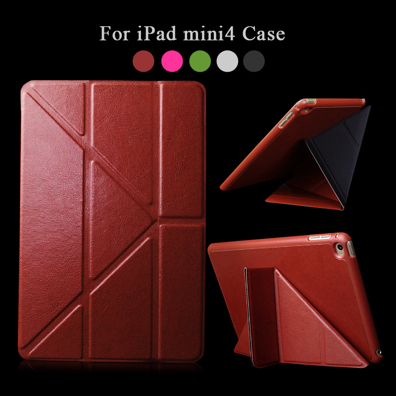 Fashion Transformer flip leather For Apple iPad mini 4 Case Tablet Luxury Brand Smart Wake Cover For iPad mini4 Stand Book apple ipad mini smart case black mgn62zm a