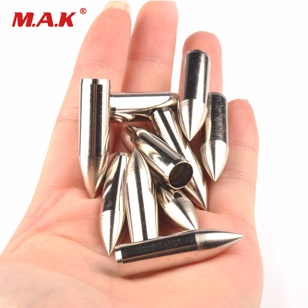 20pcs Arrow Head Wooden Arrow Tips 8mm Sliver Color  Arrow Point F Archery Arrow