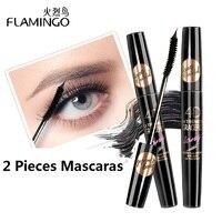 FLAMINGO 2 stücke Mascaras Ausgezeichnet tinte verlängert wimpern Macht Kurzen Gerade Lases Langen Dicken 4D Mascara