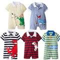2017 Ребенка Комбинезон Лето Baby Boy Одежда Наборы Roupas Bebes Новорожденных детская Одежда Roupa Младенческой Животных Комбинезоны Baby Boy Одежда