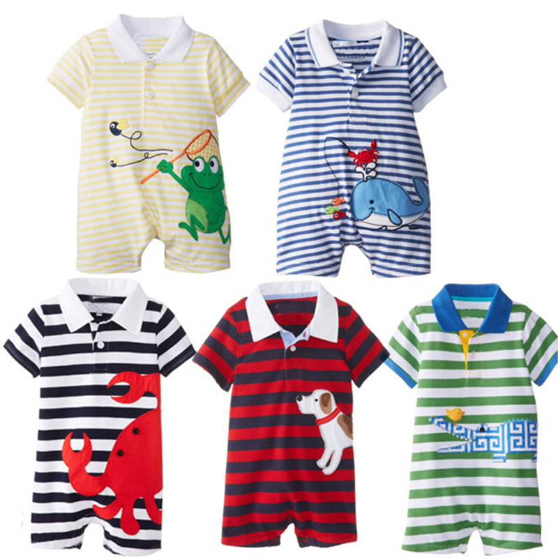 цена на 2017 Baby Rompers Summer Baby Boy Clothing Sets Roupas Bebes Newborn Baby Clothes Roupa Infant Animal Jumpsuits Baby Boy Clothes