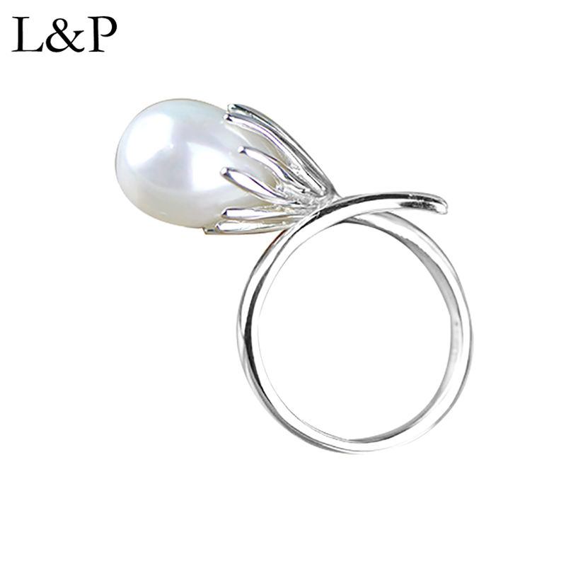 New Fashion Natural Pearl Ring For Women Real 925 Sterling Silver Adjustable Ring Fine Jewelry Wholesale