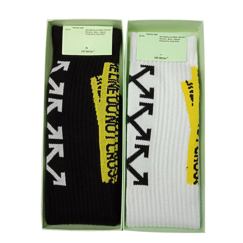 Great value! Off-white street hip hop men and women towel bottom sports tube   socks   off letter <gift boxed   socks  > AH