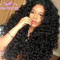7A Malaysian Virgin Hair Deep Wave 3/4 Bundles And Frontal Closure Cheap Malaysian Curly Human Hair With Lace Frontal Closure 1B