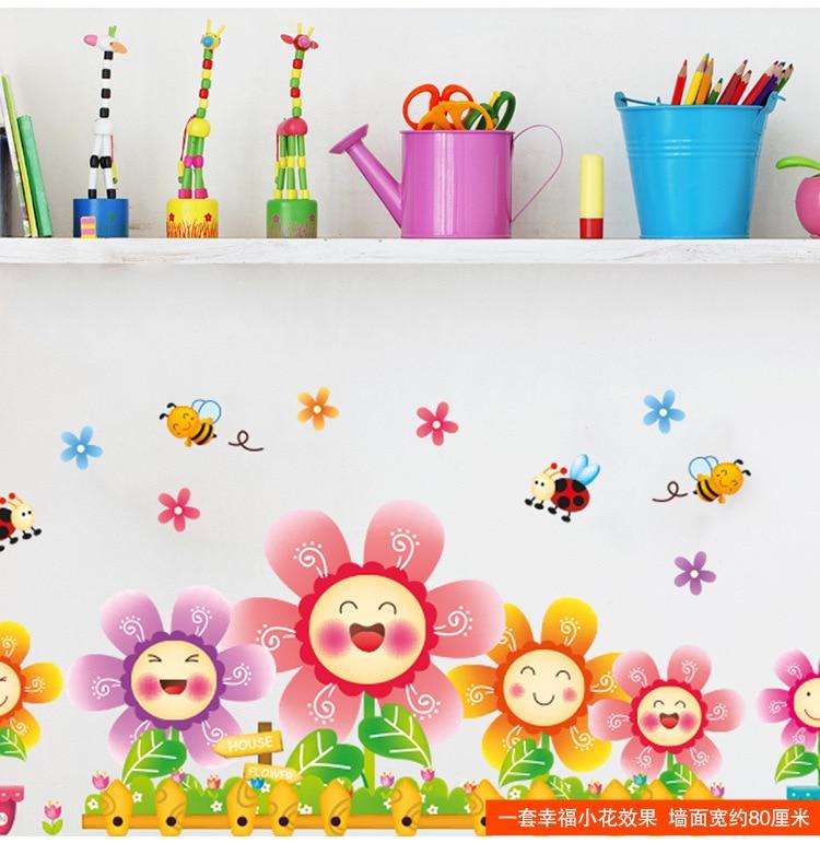 Kvetoucí květiny Vinylová samolepka Bee Animal Baby Wall Decor pro dětské pokoje Mateřské sklo Skleněné okno Koupelnové dekorace Plakáty