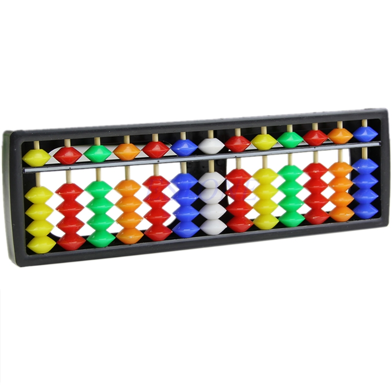 Portable Arithmetic Soroban W/ Mathematics Calculate Tool Colorful Beads Abacus #H055#