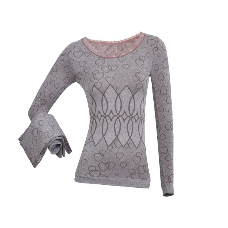 Women nightgown sets female O-neck lace intimate thermal underwear ladies long-sleeved pajamas suit autumn/winter tracksuit