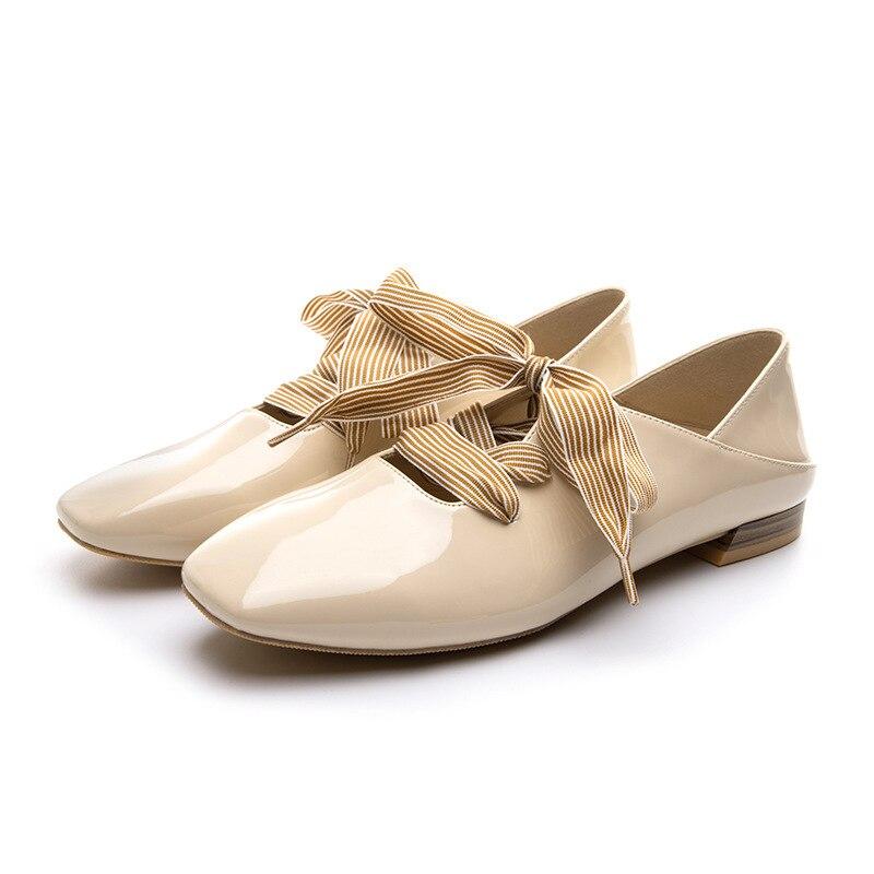 75d518ad2f1ac3 Noir Simple Mode 2019 Couleur En Confortable Femmes Printemps Nouvelle Cuir  Et Plates Doux Sauvages Casual kaki Chaussures Verni ...