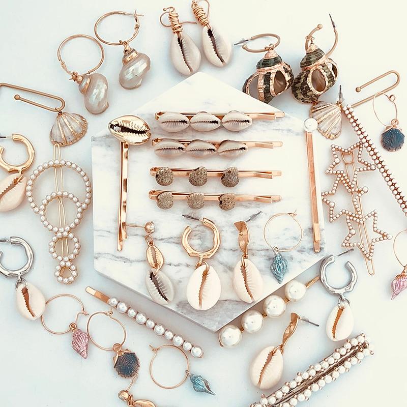 set 3 Starfish Shell gold bobby bobbi pins bead clip barrette hairpin accessory