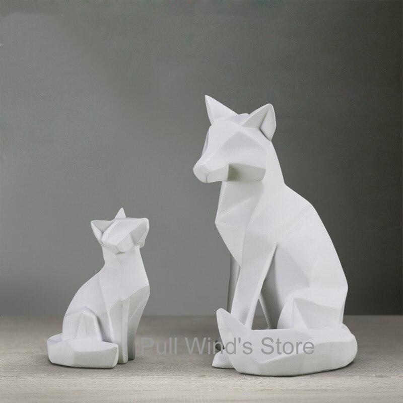 Creative abstract art resin fox ornaments Geometric origami style animal fox home decoration african elephant