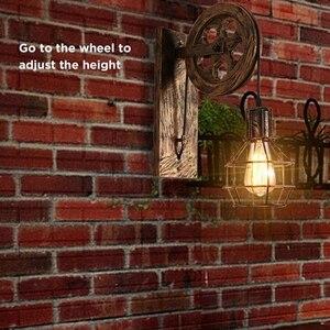 Image 5 - רטרו לופט אור תליון השעיה אור הרמת גלגלת קיר מנורת מעבר מסעדת פאב קפה אור חזיית פמוט פנס