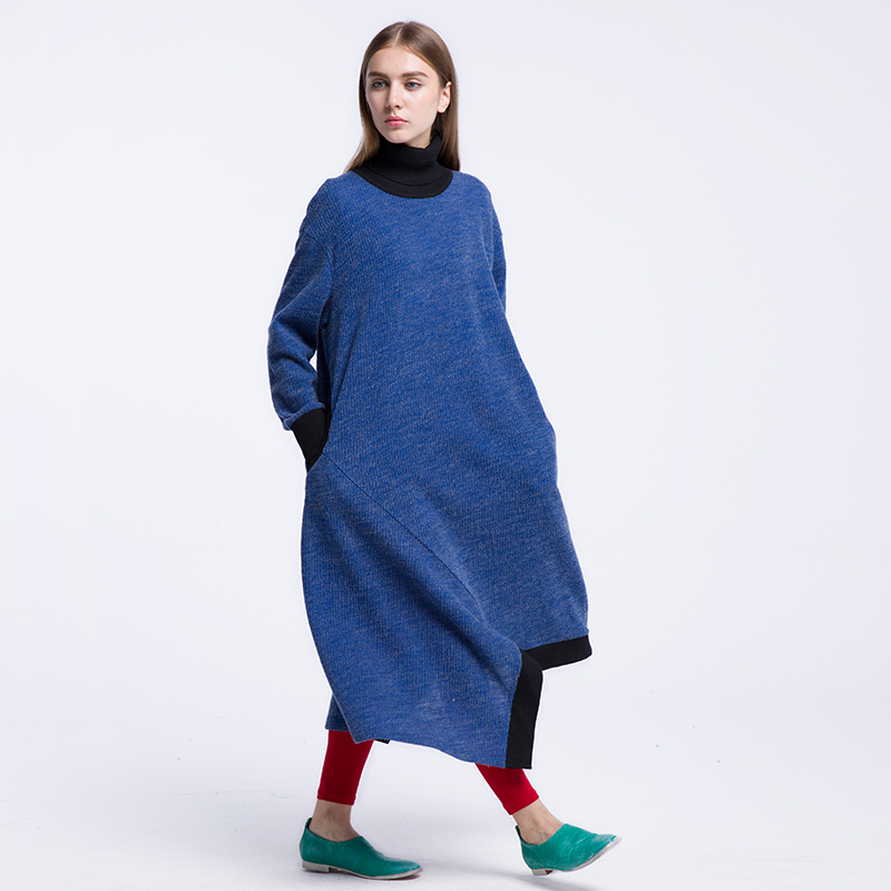 CH218 Original Design Autumn 2016 women new casual loose plus size long sleeve turtleneck asymmetrical x long 100% wool dress