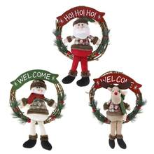 1PC Christmas Wreath Door Hanging Pendant Rattan Ring Santa Snowman Elk Ornaments Christmas decoration for home(China)