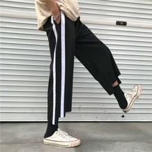 2018 Yaz Yeni Gelenler Kore Eğilim Eklenmiş Çizgili Ince Gençlik Geniş Bacak Pantolon Eğlence Erkekler Rahat Gevşek Pantolon Siyah M-XL Gelgit