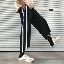2018 Summer Baru Tiba Trend Korea Spliced Striped Nipis Belia Lebar Kaki Seluar Leisure Lelaki kasual longgar Trouser Hitam M-XL Tide