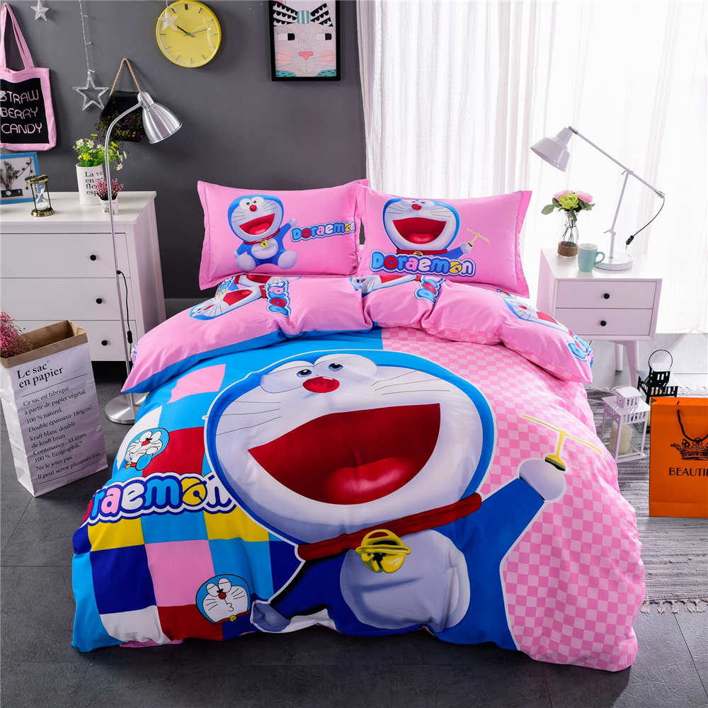 Baby bed quilt size - Doraemon Plaid Bedding Sets Bedspreads Girls Baby Bed Duvet Covers Cotton 500tc Woven Twin Full Queen