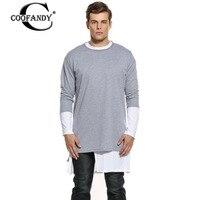 COOFANDY Lange T-shirt Mode Männer Oansatz Normallack Patchwork Lose hoch Niedrige Rand Zurück Reißverschluss Männer Baumwolle Pullover Männlichen T Shirts