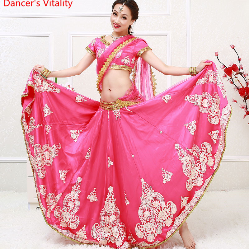 <font><b>Indian</b></font> Bollywood dance dancing Clothes Performance <font><b>Sari</b></font> veil robe dress top <font><b>skirt</b></font> Veil costumes clothes wear image