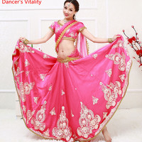 Indian Bollywood dance dancing Clothes Performance Sari veil robe dress top skirt Veil costumes clothes wear