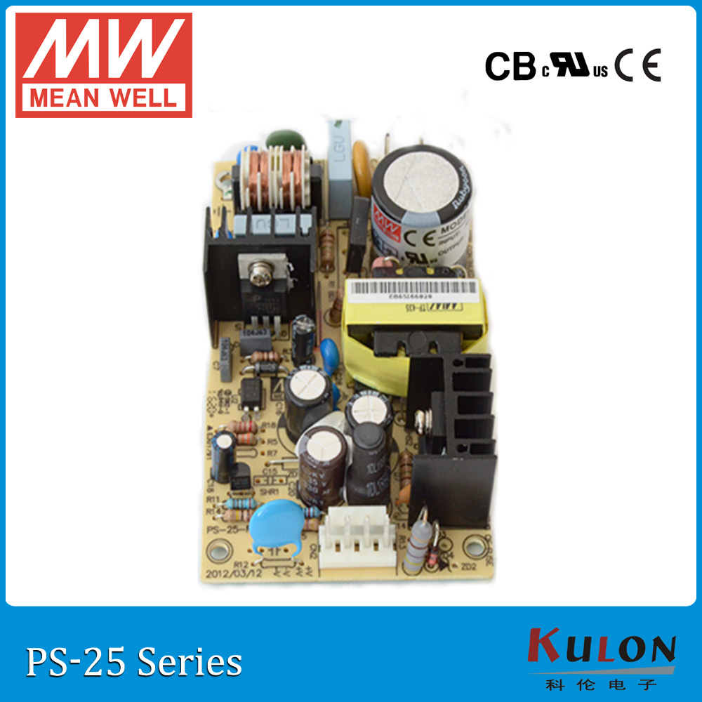 Original MEAN WELL PS-25-5 single output 5V 5A 25W open frame Meanwell Power Supply PS-25 PCB type 5% 25