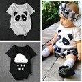 2016 Verão Macacão de Bebê Recém-nascido de Manga Curta Panda Bonito nuvens Projeto Infantil 100% Algodão Bebê Menino Menina Romper Do Bebê