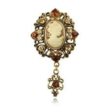 Vintage Charm European and American Brooch Jewelry Alloy Female Beauty Queen Head Brooch Gorgeous Fashion Zinc недорого