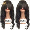 Sin cola onda brasileña del cuerpo del pelo humano pelucas delanteras con flequillo / peluca llena del cordón negro para la mujer flequillo completo pelucas delanteras del cordón