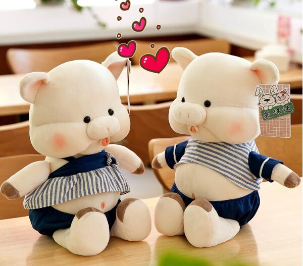 Snoring Pig Pair Wedding Pig Boy & Girl Staffed Animal Doll Cartoon Lovely Pig Free Shipping A-117