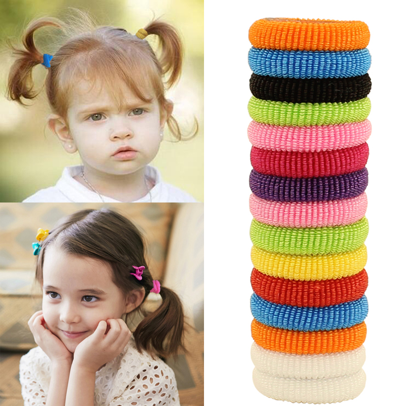 80pcs bag Quality 30mm Child font b baby b font Small Rubber Bands Elastic Ponytail Holders