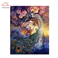 Golden Panno 5D Full Square DIY Diamond Embroidery Diamond Painting Cross Stitch Diamond Needlework Peacock Queen