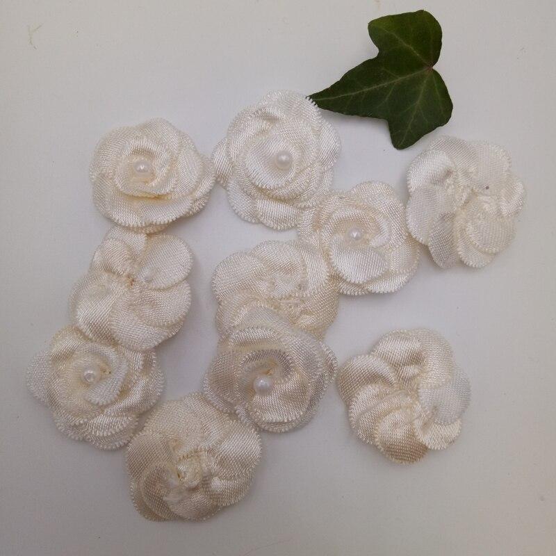 20 шт атласные Ленточные банты цветочные жемчужные свадебные аппликации «сделай сам» смешать четыре цвета