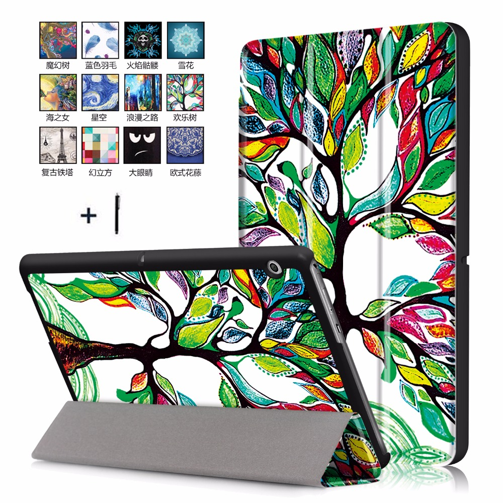 For Huawei MediaPad T3 10 9.6 inch Tablet Case For Huawei T 3 10 9.6 '' AGS-L03 Smart  Flip Leather Stand Cover+Stylus retail brand new usb host otg adapter cable for 10 1 inch huawei mediapad 10 fhd tablet pc as