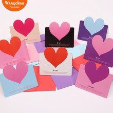 10pcs/bag Mixed Color LOVE Heart Shape Greeting Card Valentines Day Gift Wedding Invitations Romantic Thank You Cards
