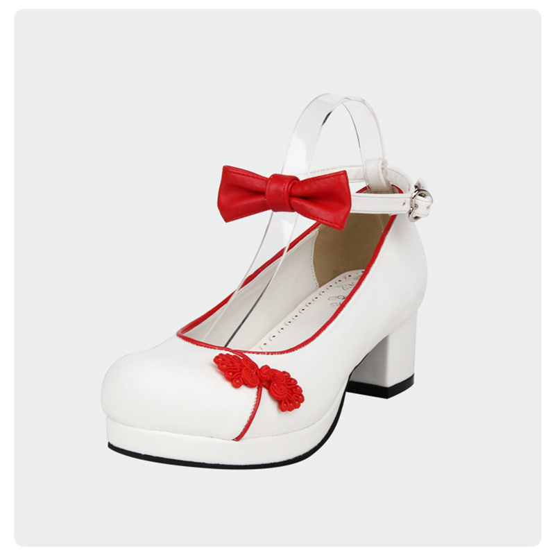 Dulce Mujer 2016 Pajarita Custom Chino Tobillo Cuadrada Nuevo Estilo blanco Cosplay Alto Correa Zapatos Tacón Lolita De FzxFfv6wnr