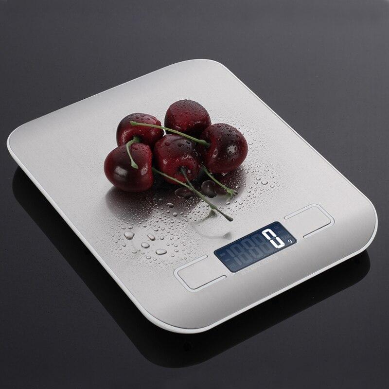 Цифровые кухонные весы с платформой из нержавеющей стали, 10 кг/5 кг, 5000 г, измерительный инструмент для диеты, баланса веса, ЖК-дисплей с подсветкой-2