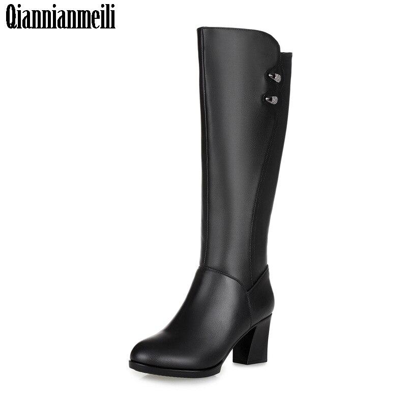 2017 Women Black Knee High Boots Genuine Leather Long Boots Autumn Winter Ladies Fashion Warm high Heel Work Boots Snow Shoes недорого