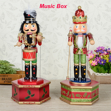 New 32Cm High Christmas Holiday Nutcracker Moustache Music Box Vintage German Wooden Table Walnut Toy Zakka