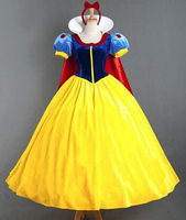 Snow White Cosplay Dress Princess Fancy Dress Snow White Costume Halloween Party Carnival Clothing Yellow Dress Red Cloak Adult