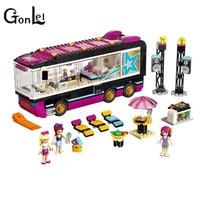 GonLeI 10407 Friends Pop Star Tour Bus Building Blocks Sets Bricks Toys Girl Game House