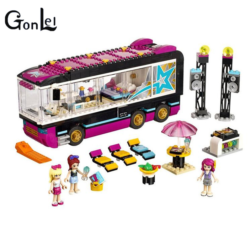 (GonLeI) 10407 Friends Pop Star Tour Bus Building Blocks Sets Bricks Toys Girl Game House Gift Compatible with msfw 230 50 60 4540 festo orginal coil