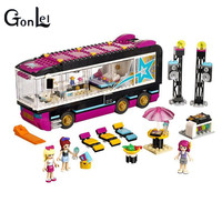 GonLeI 10407 Friends Pop Star Tour Bus Building Blocks Sets Bricks Toys Girl Game House