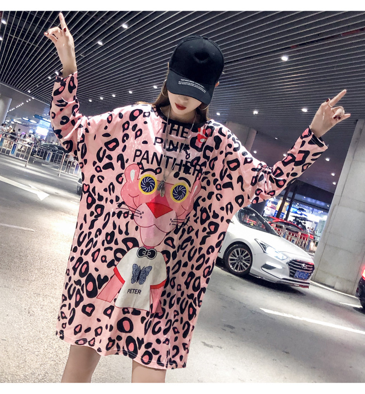 Women Winter T shirt Cartoon Pink Panther Letter Printed Tshirt Dress Long Loose Hip Pop Girls Tops Tee Gold velvet Oversize