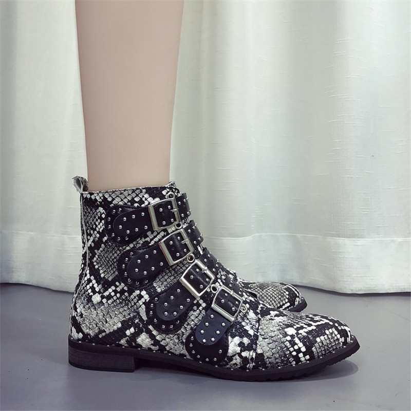 COOTELILI Ankle-Boots Buckle Snakeskin Chelsea-Botas Women Casual-Shoes Female Plus-Size