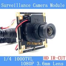 1/4 1000TVL CMOS Analog camera PCB Board Module with 1080P 3.6mm Lens IR CUT Filter
